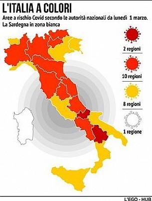 Emergenza Covid-19: dal 1° marzo 2021 cambiano i colori regionali. La mappa e le regole